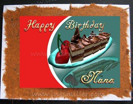 NANA Card Happy Birthday Handmade Greeting Card Chocolate Cake Cherries dessert custom art