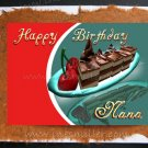 NANA Card Happy Birthday Handmade Greeting Card Chocolate Cake Cherries dessert custom art