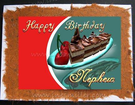 NEPHEW Happy Birthday Card Chocolate Cherry Cake HANDMADE Greeting Cards Custom