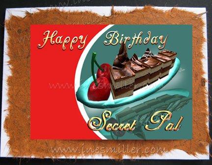 SECRET PAL greeting card Happy Birthday Handmade personalized Card Cake cherries