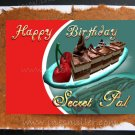 SECRET PAL greeting card Happy Birthday Handmade personalized Card Cake cherries