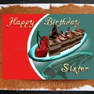 SISTER Happy Birthday Card chocolate cake cherry handmade personalized card