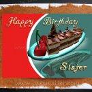 SISTER Happy Birthday Card chocolate cake cherry handmade personalized card