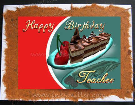 TEACHER Happy Birthday handmade greeting card personalized custom card CHOCOLATE CHERRY DESSERT
