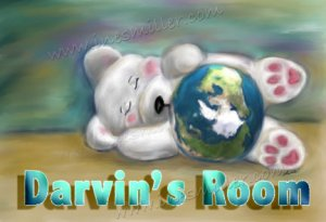 Personalized Art print CHILD'S ROOM Baby Bear sleeping cub holding Planet EARTH custom print 11X14