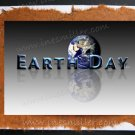 Happy Earth Day Greeting card Environment Awareness Handmade Card Blue Planer shadow reflection