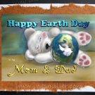 EARTH DAY Handmade Greeting Card White Teddy bear Cub sleeping baby bear MOM Dad Earth day Awareness