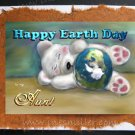 AUNT Handmade Greeting card Happy Earth Day Custom personalized hand made cards Teddy bear