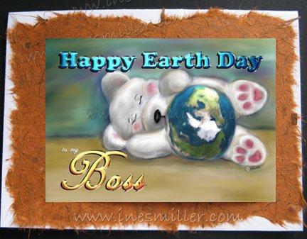 BOSS Happy Earth Day White teddy bear sleeping cub Handmade Greeting Car personalized cards