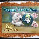 BOSS Happy Earth Day White teddy bear sleeping cub Handmade Greeting Car personalized cards