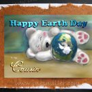 COUSIN Happy Earth Day Handmade Greeting Card personalized Bear blue planet Digital Art Painting