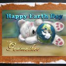GODMOTHER Happy Earth Day Personalized handmade card sleeping white bear cub custom cards