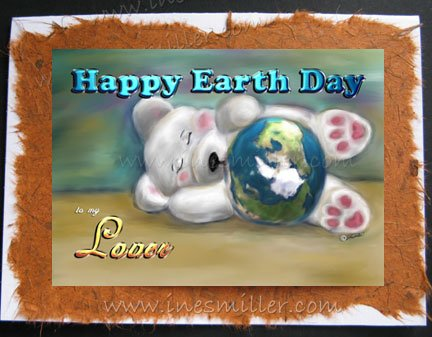LOVER Happy Earth Day Greeting Card Gay Lesbian Environment Awareness Card Baby bear cub blue planet