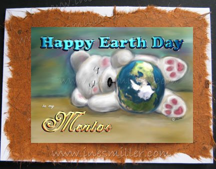 MENTOR Happy EARTH DAY card white teddy bear blue planet Personalized SCHOOL custom card