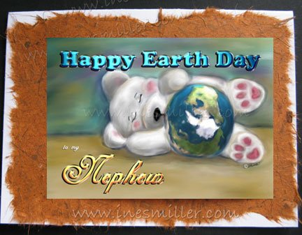 NEPHEW Happy Earth day Greeting Card Handmade personalized cards napping baby Bear blue planet
