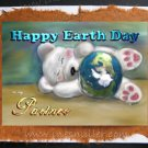 PARTNER Happy Earth Day Personalized handmade greeting card Gay lesbian White bear cub blue planet