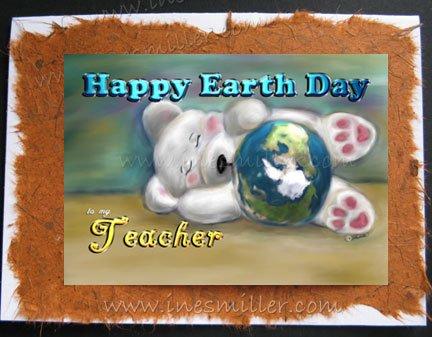 TEACHER Earth Day handmade personalized card white BEAR cub blue planet