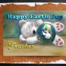 TEACHER Earth Day handmade personalized card white BEAR cub blue planet