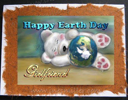 GIRLFRIEND Earth Day Handmade Greeting card Personalized Bear card