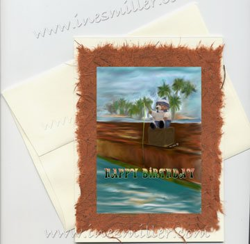 Handmade Card Fishing Teddy Bear HAPPY BIRTHDAY Collectible greeting Card Ines Miller