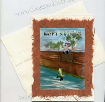 HAPPY BIRTHDAY 4th child  Birthday Handmade Greeting card Fishing Teddy Bear Original custom Art