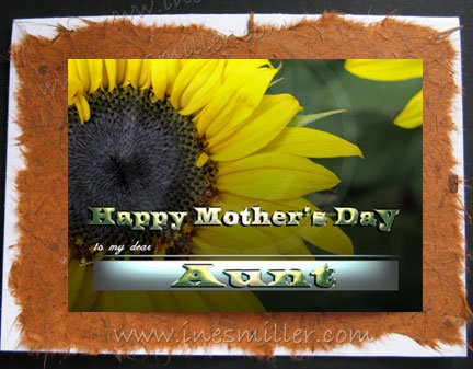 AUNT Happy Mother's Day Card Sunflower heart Handmade greeting card personalized cards