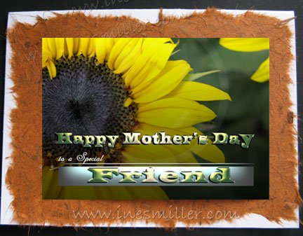 FRIEND HAPPY MOTHER'S DAY Greeting Card personalized handmade NAture Cards Sunflower shine