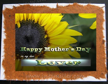 LOVER Happy Mother's Day Greeting Card Gay Lesbian Sunflower Card
