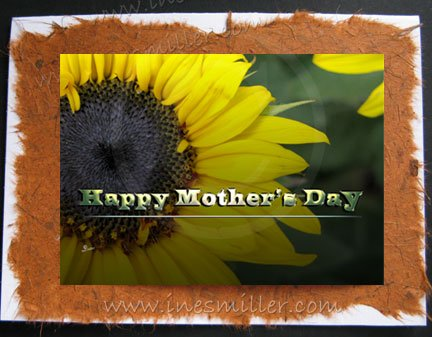 Greeting Card Happy Mother's Day Handmade cards Sunflower yellow heart
