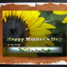 Happy Mother's Day Card NIECE Sunflower shinny heart Handmade personalized art