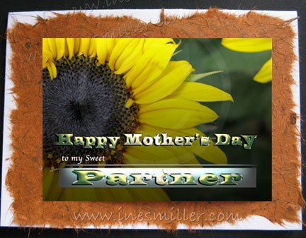 Happy Mother's Day Card PARTNER Sunflower nature cards Original Personalized art