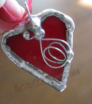 Red heart passion  curly whimsey hearts soldered glass heart pendant fashion jewelry handmade  gifts