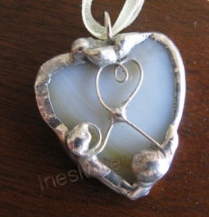 HEART PENDANT cream & white SOLDERED heart pendant UNIQUE Handmade gifts
