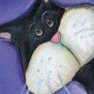 Kitty Tuxedo cat cherry bowl Outsider whimsical art NOTECARDS custom note cards SPECIAL ORDER