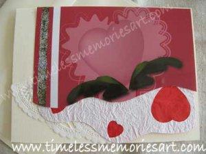 Valentine flower pink  heart embellish with  silver glitter handmade Greeting card