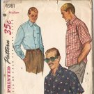 50s vintage sewing pattern mens shirt Simplicity 4981 Medium