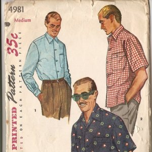 50s vintage sewing pattern mens shirt Simplicity 4981 Medium