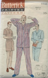 vintage sewing pattern mens pajamas pjs Butterick 5546