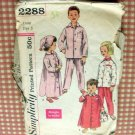 Childs Pajamas 50s vintage sewing pattern Simplicity 2288