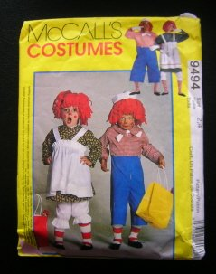 Raggedy Ann & Andy Costume Sewing Pattern McCall's 9494 Kids Size 2-4