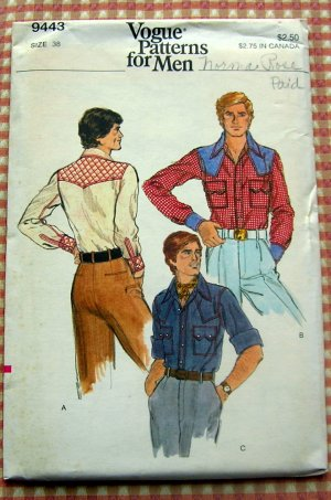 Men's Western Shirt Vogue 9443 vintage sewing pattern