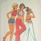 Girl's Halter Crop Top, Shorts and Jeans Vintage Sewing Pattern Simplicity 5707