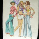 Hip Hugger Pants, Halter Crop Top, Shirt  Vintage Sewing Pattern Simplicity 6348