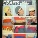 Vintage Sewing Pattern 70s Hats and Belts McCall's 645