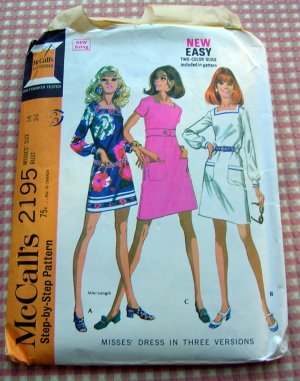 Sixties Mini Dress Vintage Sewing Pattern McCall&#039;s 2195