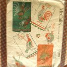 McCalls Vintage 50s Chicken and Rooster Cross Stitch Transfer Pattern Number 1998
