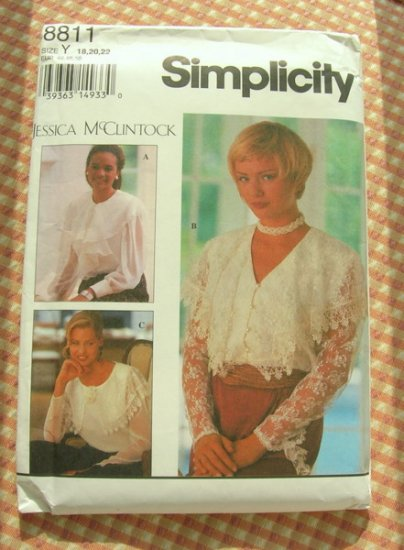 Jessica McClintock Designer Blouse Vintage Sewing Pattern Simplicity 8811