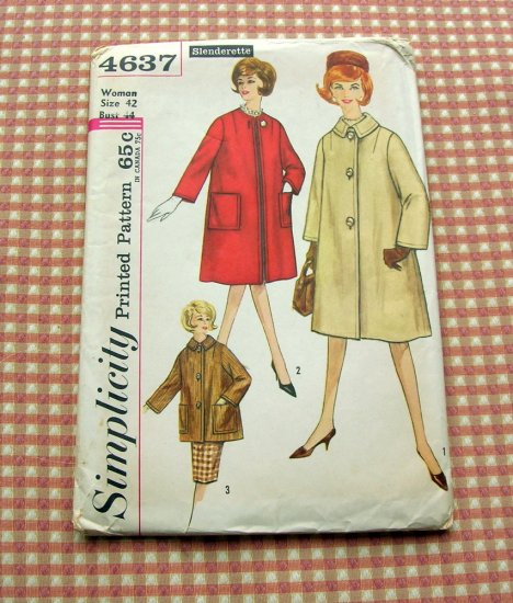 Simplicity 4637  Woman's Mad Men Style Coat Vintage Sewing Pattern