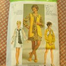 Sixties Mini Dress and Scarf Vintage Sewing Pattern Simplicity 9182