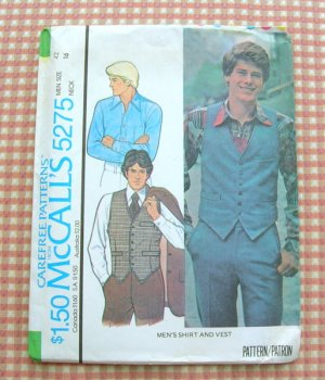 Mens Shirt and Vest Vintage Seventies Sewing Pattern McCalls 5275